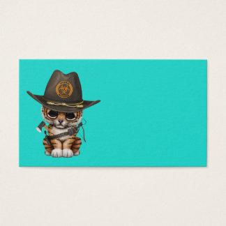 Cute Tiger Cub Zombie Hunter Business Card
