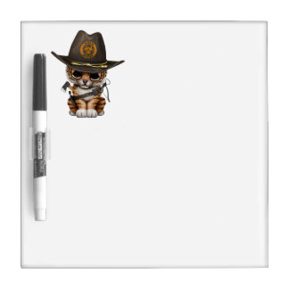 Cute Tiger Cub Zombie Hunter Dry Erase Board