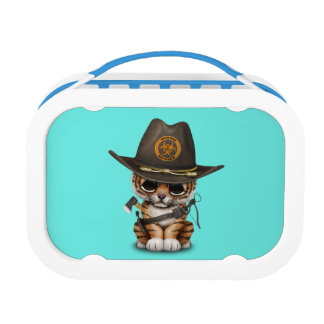 Cute Tiger Cub Zombie Hunter Lunch Box