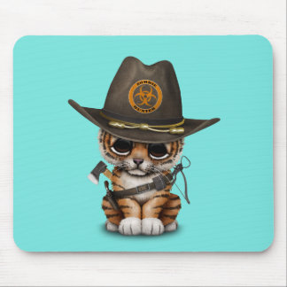 Cute Tiger Cub Zombie Hunter Mouse Pad