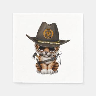 Cute Tiger Cub Zombie Hunter Paper Napkins