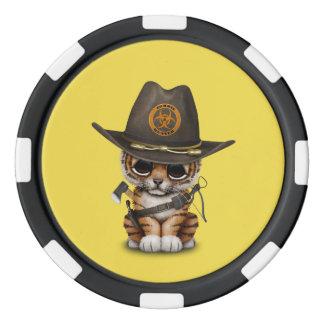 Cute Tiger Cub Zombie Hunter Poker Chips
