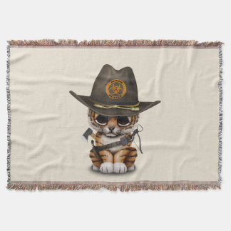 Cute Tiger Cub Zombie Hunter Throw Blanket