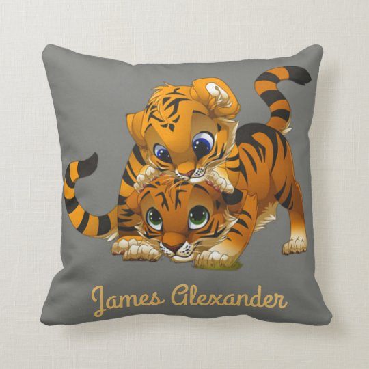 Cute tiger cubs, personalized for kids throw pillow