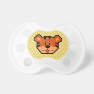 Cute Tiger Face and Polka Dots Baby Shower Gift 02 Pacifier