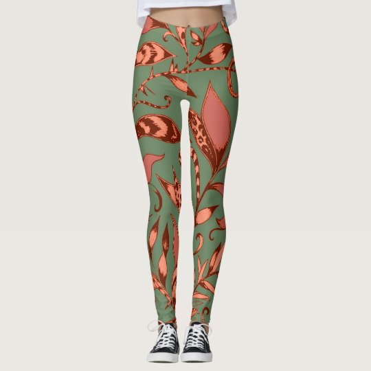 Cute Tiger Lily Floral Pattern in Orange and Green Leggings
