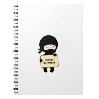 Cute Tiny Ninja Holding Sign Custom Name Notebook