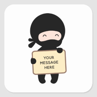 Cute Tiny Ninja Holding Sign Custom Text Square Sticker