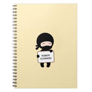 Cute Tiny Ninja Holding Sign on Yellow Custom Name Spiral Notebook