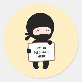 Cute Tiny Ninja Holding Sign on Yellow Custom Text Classic Round Sticker