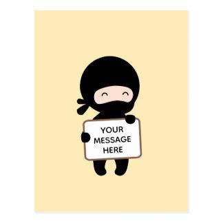 Cute Tiny Ninja Holding Sign on Yellow Custom Text Postcard