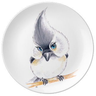 Cute Titmouse Art Plate