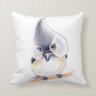 Cute Titmouse Art Throw Pillow