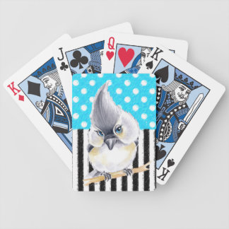 Cute Titmouse Polka Dot Bicycle Playing Cards