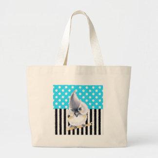 Cute Titmouse Polka Dot Large Tote Bag
