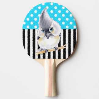 Cute Titmouse Polka Dot Ping Pong Paddle
