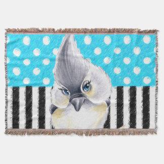 Cute Titmouse Polka Dot Throw Blanket