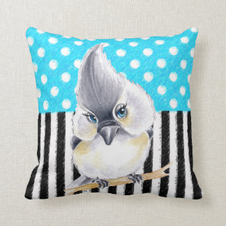 Cute Titmouse Polka Dot Throw Pillow