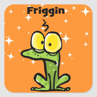 Cute Toad. Annoyed Frog. Friggin Frog Square Sticker