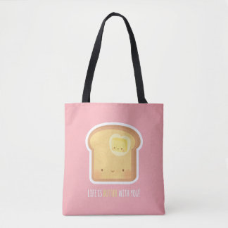 Cute Toast and Butter Amusing Puns Tote Bag