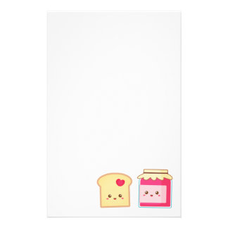 Cute Toast and Strawberry Jam, Spread Love Stationery