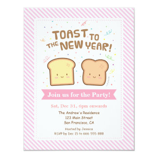 Cute Toast to the New Year Pun Confetti Party Card