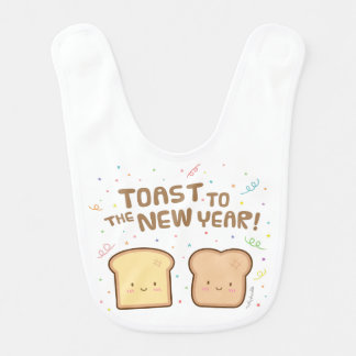 Cute Toast to the New Year Pun Humor Confetti Bib