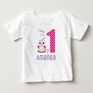 Cute Today I'm 1 Pink Cartoon Bird Birthday Baby T-Shirt