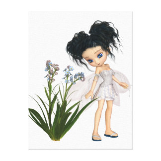 Cute Toon Black-Haired Forget-Me-Not Fairy Canvas Print