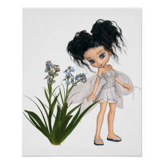 Cute Toon Black-Haired Forget-Me-Not Fairy Poster