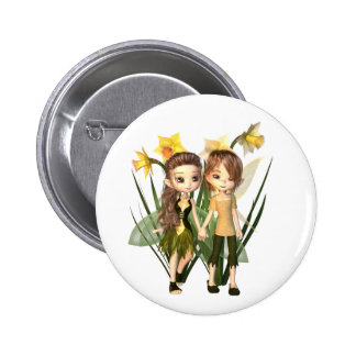 Cute Toon Daffodil Fairy Boy and Girl 2 Inch Round Button