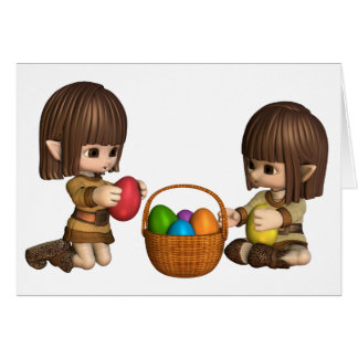 Cute Toon Easter Elves with Basket of Eggs Card
