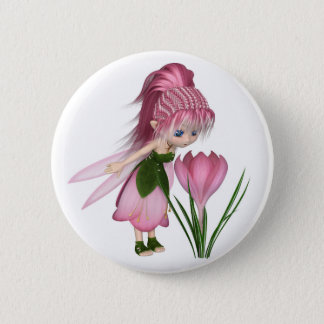 Cute Toon Pink Crocus Fairy, Standing by a Flower 2 Inch Round Button