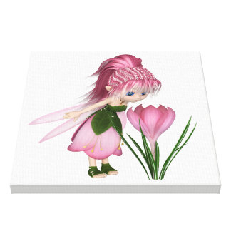 Cute Toon Pink Crocus Fairy, Standing by a Flower Canvas Print