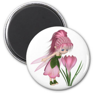 Cute Toon Pink Crocus Fairy, Standing by a Flower Magnet