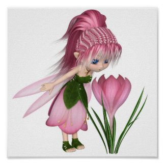 Cute Toon Pink Crocus Fairy, Standing by a Flower Poster