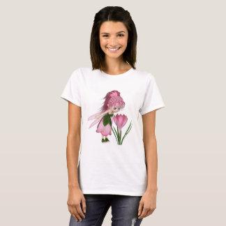 Cute Toon Pink Crocus Fairy, Standing by a Flower T-Shirt