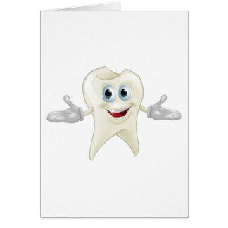 Cute tooth dental mascot greeting card