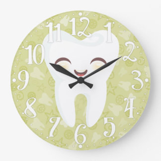 Cute Tooth - Green Wall Clock