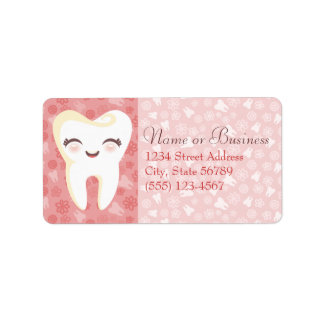 Cute Tooth - Pink Custom Address Labels