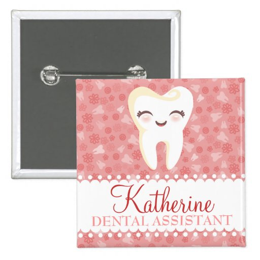 Cute Tooth - Pink Custom Name Badge Button
