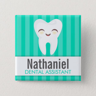 Cute Tooth - Teal Custom Name Badge Button