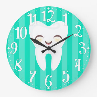 Cute Tooth - Teal Striped Dental Wall Clock