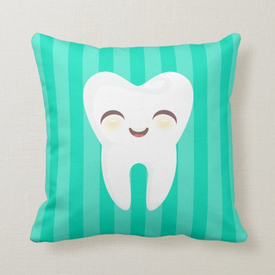 Cute Tooth - Teal Stripes Decorative Throw Pillow