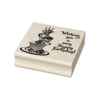 Cute Topsy-Turvy Cake Wishing You Happy Birthday Rubber Stamp