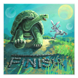 Cute Tortoise and the Hare Art Photo Print