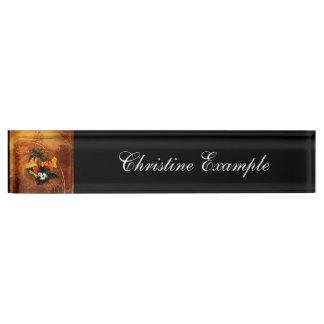 Cute toucan with flowers desk name plates