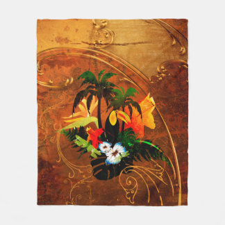 Cute toucan with flowers fleece blanket