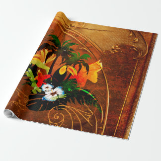 Cute toucan with flowers wrapping paper