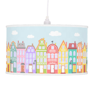 Cute Town Cartoon Cityscape Kids Hanging Lamp